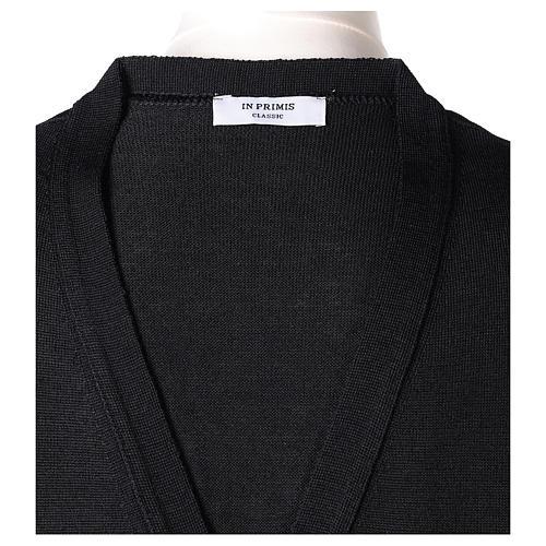 Gilet prêtre noir poches et sans manches boutons jersey simple 50% acrylique 50% laine mérinos In Primis 6