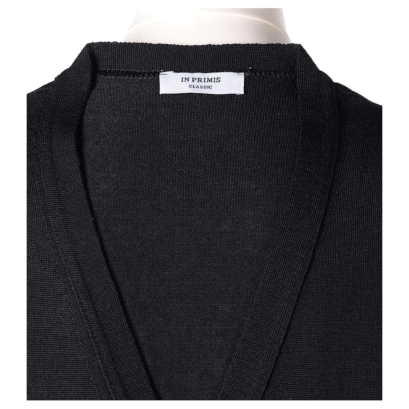 Gilet sacerdote aperto 50% lana merino 50% acrilico maglia rasata nero In Primis 4