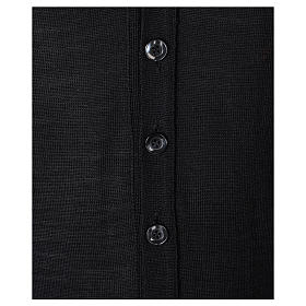 Gilet sacerdote aperto 50% lana merino 50% acrilico maglia rasata nero In Primis s3