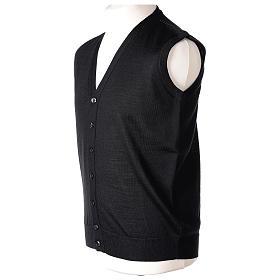 Gilet sacerdote aperto 50% lana merino 50% acrilico maglia rasata nero In Primis s4