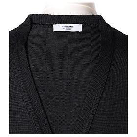 Gilet sacerdote aperto 50% lana merino 50% acrilico maglia rasata nero In Primis s6