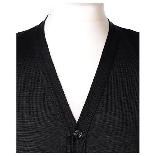 Gilet sacerdote aperto 50% lana merino 50% acrilico maglia rasata nero In Primis 2