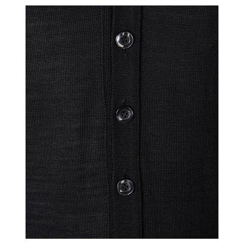 Gilet sacerdote aperto 50% lana merino 50% acrilico maglia rasata nero In Primis 3