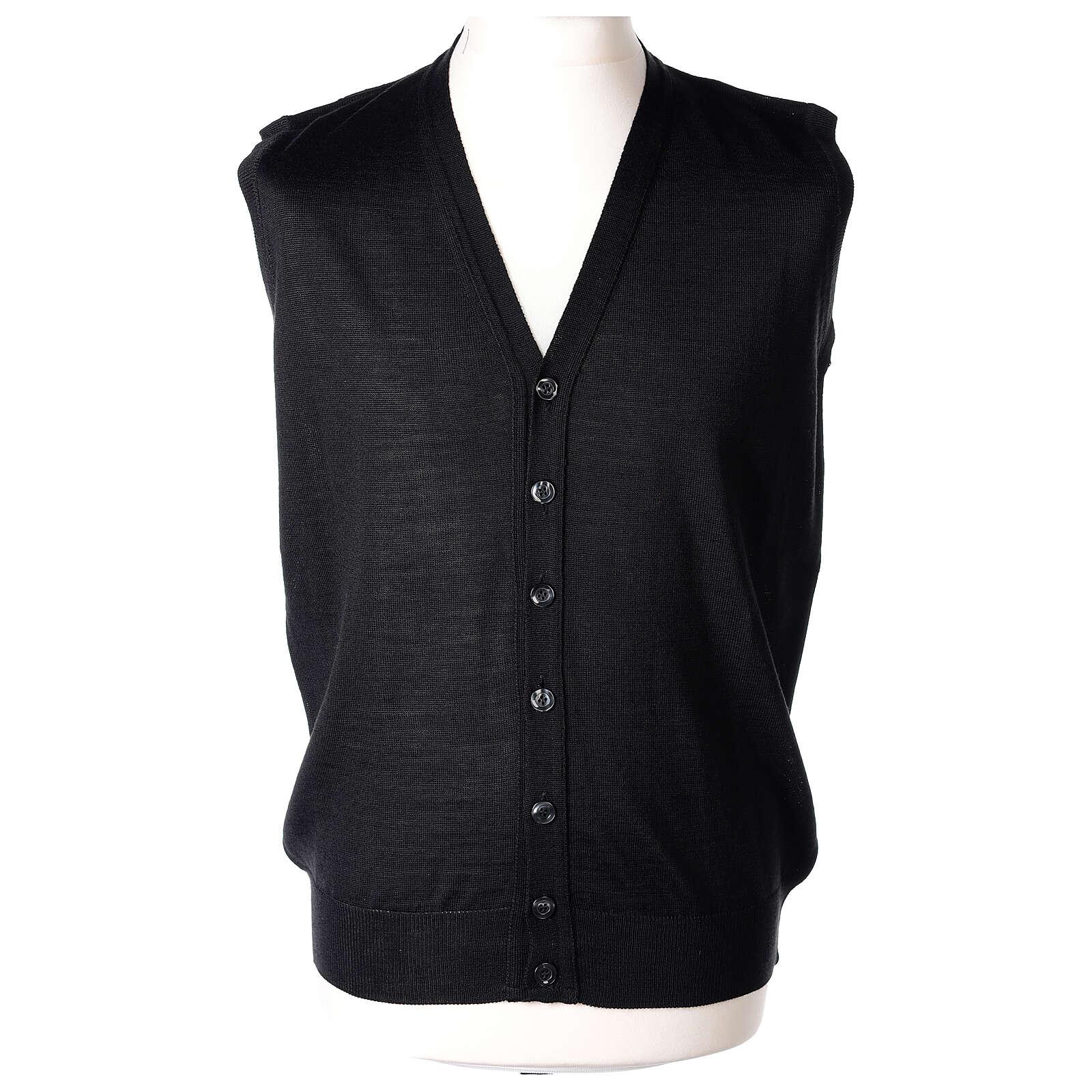 Sleeveless clergy cardigan black plain knit 50% acrylic 50% merino wool In Primis 4