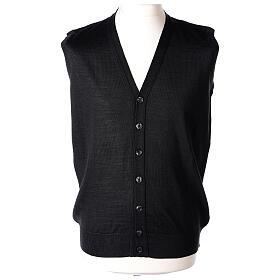 Sleeveless clergy cardigan black plain knit 50% acrylic 50% merino wool In Primis s1