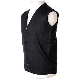 Sleeveless clergy cardigan black plain knit 50% acrylic 50% merino wool In Primis s4