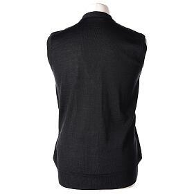 Sleeveless clergy cardigan black plain knit 50% acrylic 50% merino wool In Primis s5
