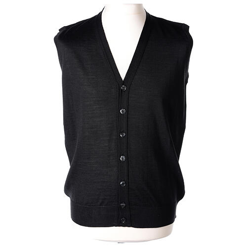 Sleeveless clergy cardigan black plain knit 50% acrylic 50% merino wool In Primis 1