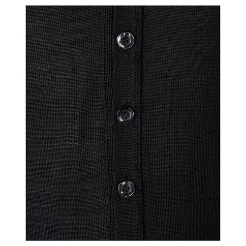 Sleeveless clergy cardigan black plain knit 50% acrylic 50% merino wool In Primis 3
