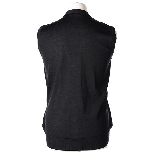 Sleeveless clergy cardigan black plain knit 50% acrylic 50% merino wool In Primis 5