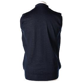 Chaleco sacerdote abierto 50% lana merina 50% acrílico punto al derecho azul In Primis s4