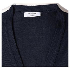 Chaleco sacerdote abierto 50% lana merina 50% acrílico punto al derecho azul In Primis s5