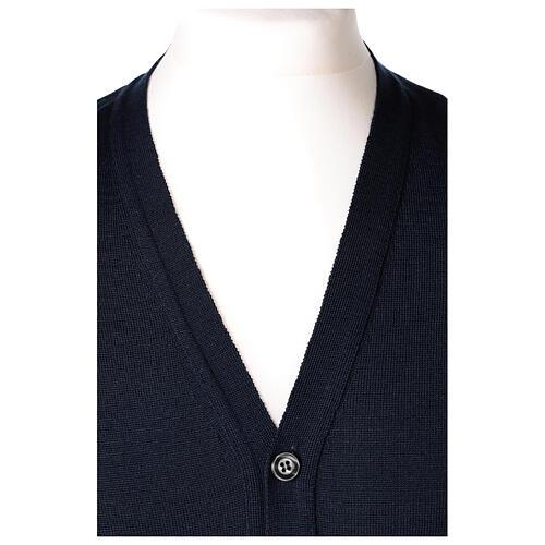 Chaleco sacerdote abierto 50% lana merina 50% acrílico punto al derecho azul In Primis 2