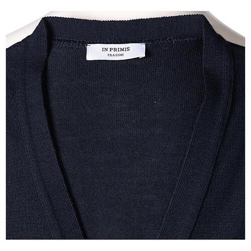Chaleco sacerdote abierto 50% lana merina 50% acrílico punto al derecho azul In Primis 5