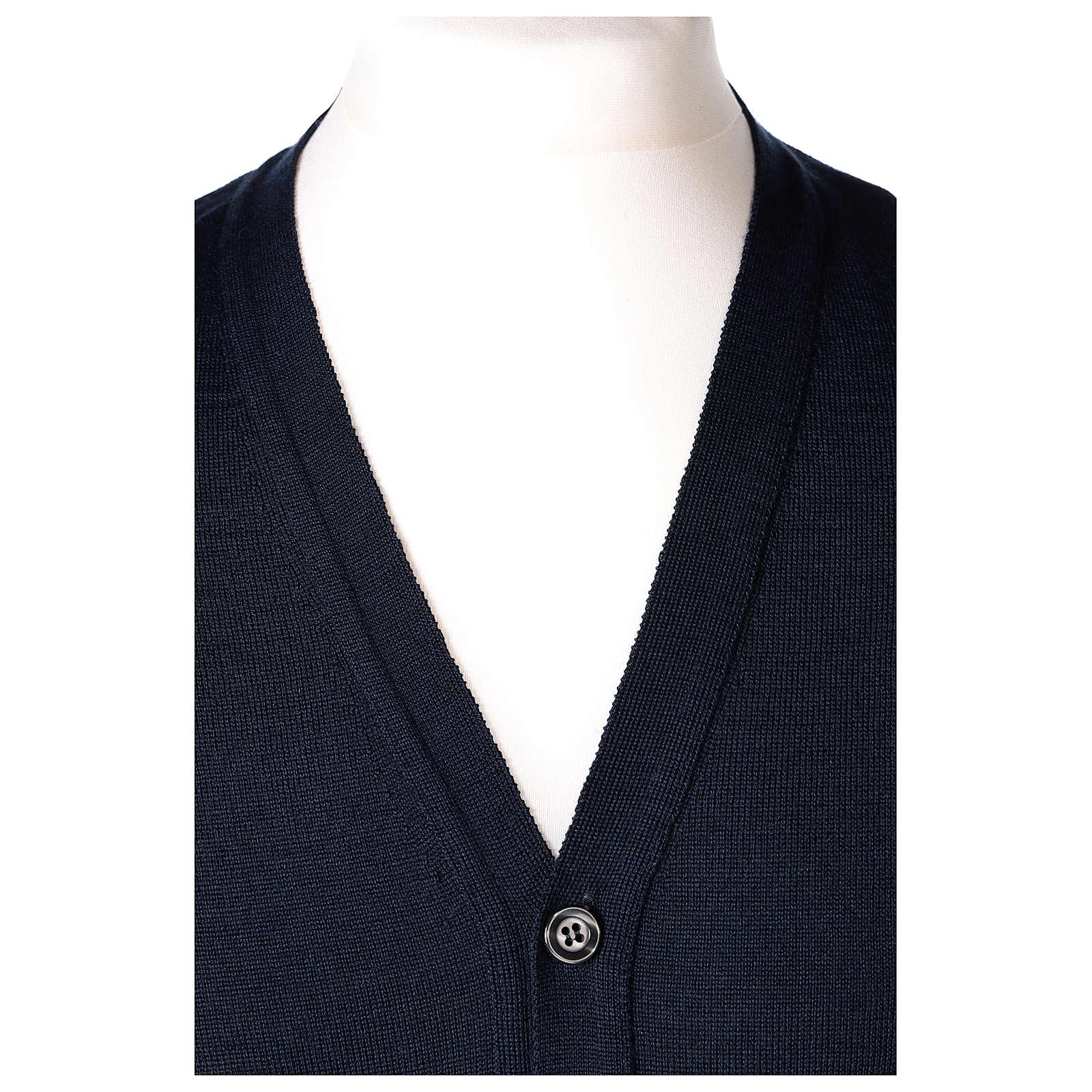 Gilet prêtre bleu poches et sans manches boutons jersey simple 50% acrylique 50% laine mérinos In Primis 4