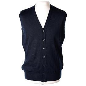Gilet prêtre bleu poches et sans manches boutons jersey simple 50% acrylique 50% laine mérinos In Primis s1