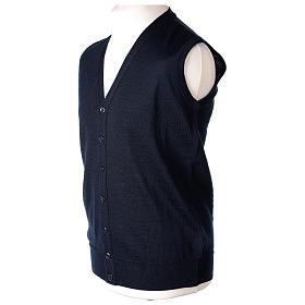 Gilet prêtre bleu poches et sans manches boutons jersey simple 50% acrylique 50% laine mérinos In Primis s3