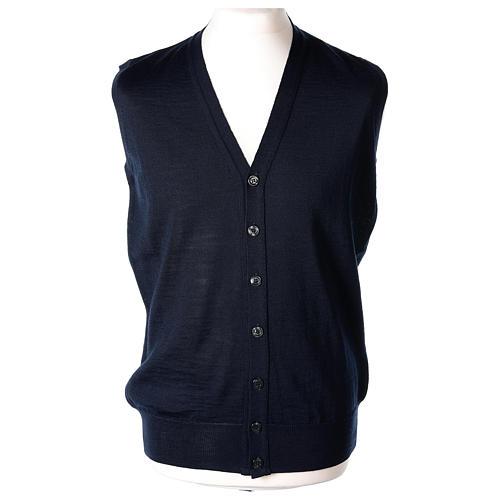 Gilet prêtre bleu poches et sans manches boutons jersey simple 50% acrylique 50% laine mérinos In Primis 1