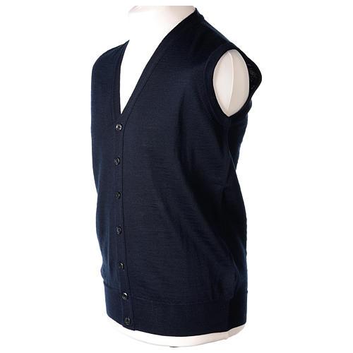 Gilet prêtre bleu poches et sans manches boutons jersey simple 50% acrylique 50% laine mérinos In Primis 3