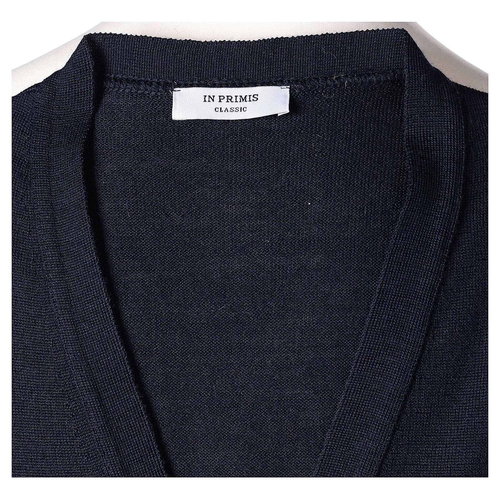 Gilet sacerdote aperto 50% lana merino 50% acrilico maglia rasata blu In Primis 4