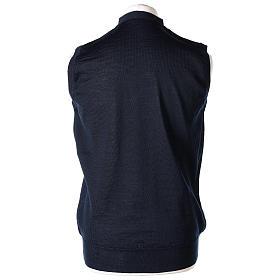 Gilet sacerdote aperto 50% lana merino 50% acrilico maglia rasata blu In Primis s4