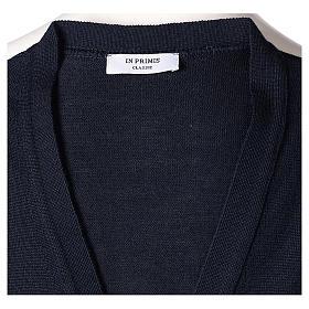 Gilet sacerdote aperto 50% lana merino 50% acrilico maglia rasata blu In Primis s5