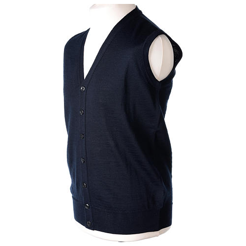 Gilet sacerdote aperto 50% lana merino 50% acrilico maglia rasata blu In Primis 3