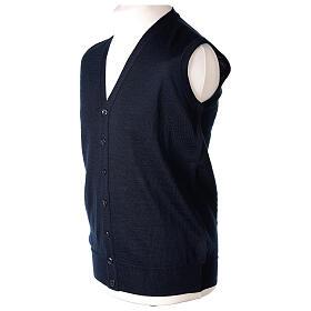 Colete sacerdote aberto 50% lã de merino 50% acrílico tricô plano azul escuro In Primis s3