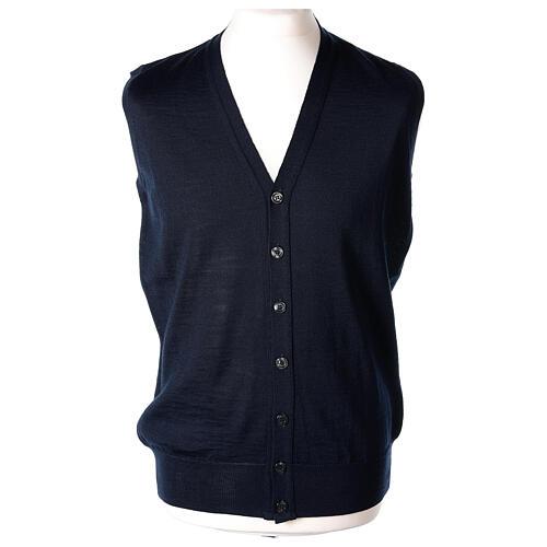 Colete sacerdote aberto 50% lã de merino 50% acrílico tricô plano azul escuro In Primis 1