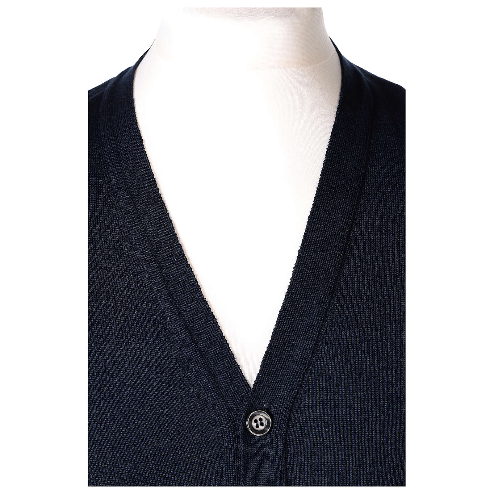 Sleeveless clergy cardigan blue plain knit 50% acrylic 50% merino wool In Primis 4