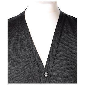 Chaleco sacerdote abierto 50% lana merina 50% acrílico punto al derecho gris antracita In Primis s2