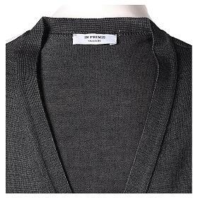Chaleco sacerdote abierto 50% lana merina 50% acrílico punto al derecho gris antracita In Primis s6