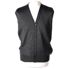 Gilet prêtre gris anthracite poches et sans manches boutons jersey simple 50% acrylique 50% laine mérinos In Primis s1