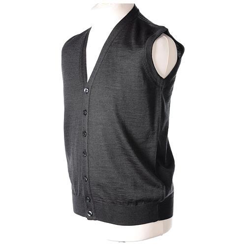 Gilet prêtre gris anthracite poches et sans manches boutons jersey simple 50% acrylique 50% laine mérinos In Primis 4