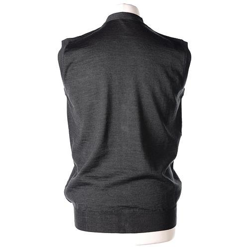 Gilet prêtre gris anthracite poches et sans manches boutons jersey simple 50% acrylique 50% laine mérinos In Primis 5