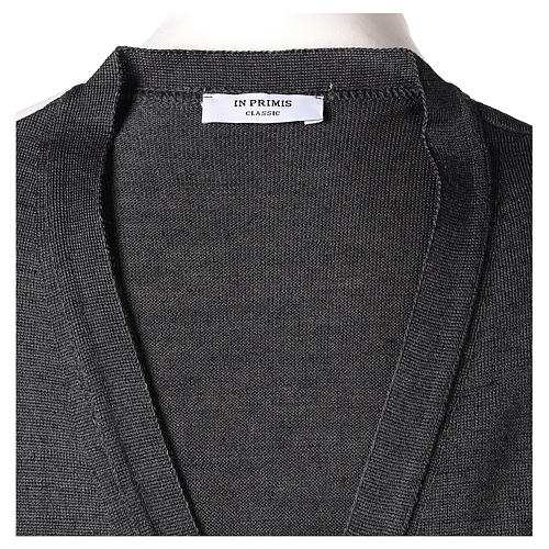 Gilet prêtre gris anthracite poches et sans manches boutons jersey simple 50% acrylique 50% laine mérinos In Primis 6