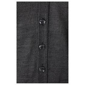 Gilet sacerdote aperto 50% lana merino 50% acrilico maglia rasata grigio antracite In Primis s3