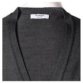 Gilet sacerdote aperto 50% lana merino 50% acrilico maglia rasata grigio antracite In Primis s6