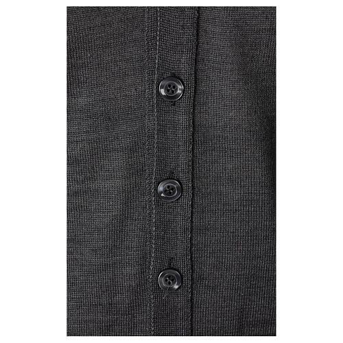 Gilet sacerdote aperto 50% lana merino 50% acrilico maglia rasata grigio antracite In Primis 3