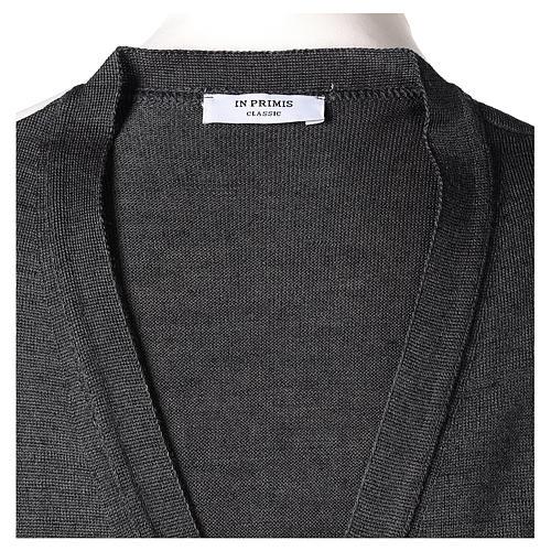 Gilet sacerdote aperto 50% lana merino 50% acrilico maglia rasata grigio antracite In Primis 6