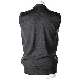 Colete sacerdote aberto 50% lã de merino 50% acrílico tricô plano antracite In Primis s5
