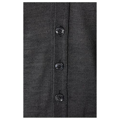 Colete sacerdote aberto 50% lã de merino 50% acrílico tricô plano antracite In Primis 3