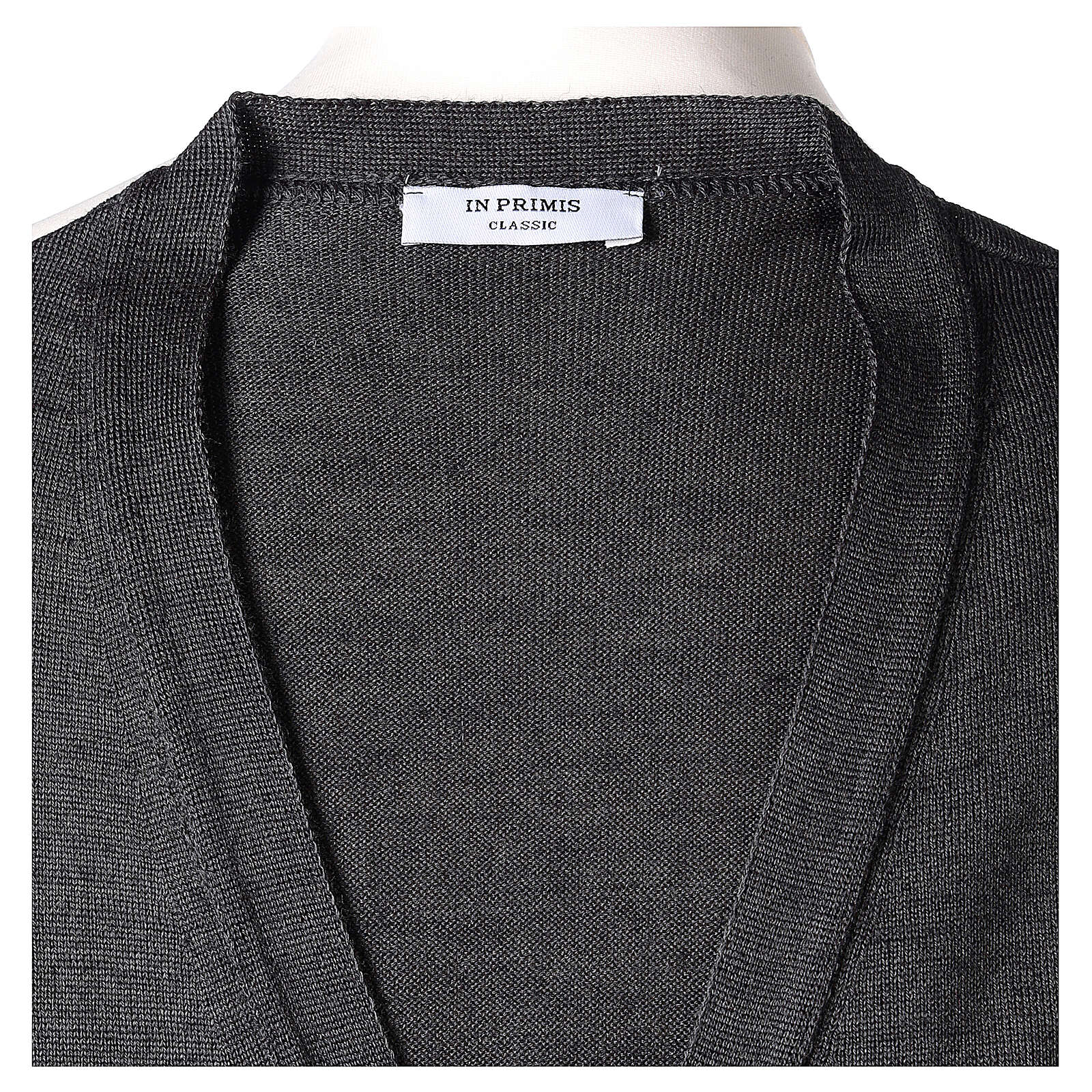 Sleeveless clergy cardigan grey plain knit 50% acrylic 50% merino wool In Primis 4