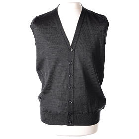 Sleeveless clergy cardigan grey plain knit 50% acrylic 50% merino wool In Primis s1