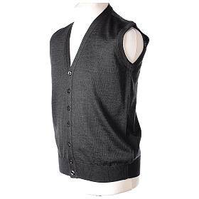 Sleeveless clergy cardigan grey plain knit 50% acrylic 50% merino wool In Primis s4