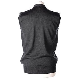 Sleeveless clergy cardigan grey plain knit 50% acrylic 50% merino wool In Primis s5