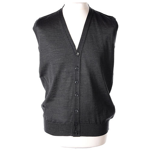 Sleeveless clergy cardigan grey plain knit 50% acrylic 50% merino wool In Primis 1