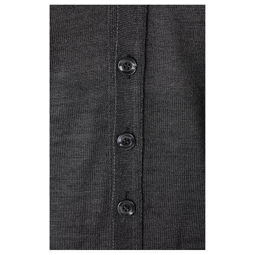 Sleeveless clergy cardigan grey plain knit 50% acrylic 50% merino wool In Primis 3