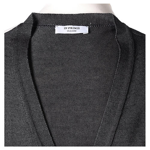 Sleeveless clergy cardigan grey plain knit 50% acrylic 50% merino wool In Primis 6