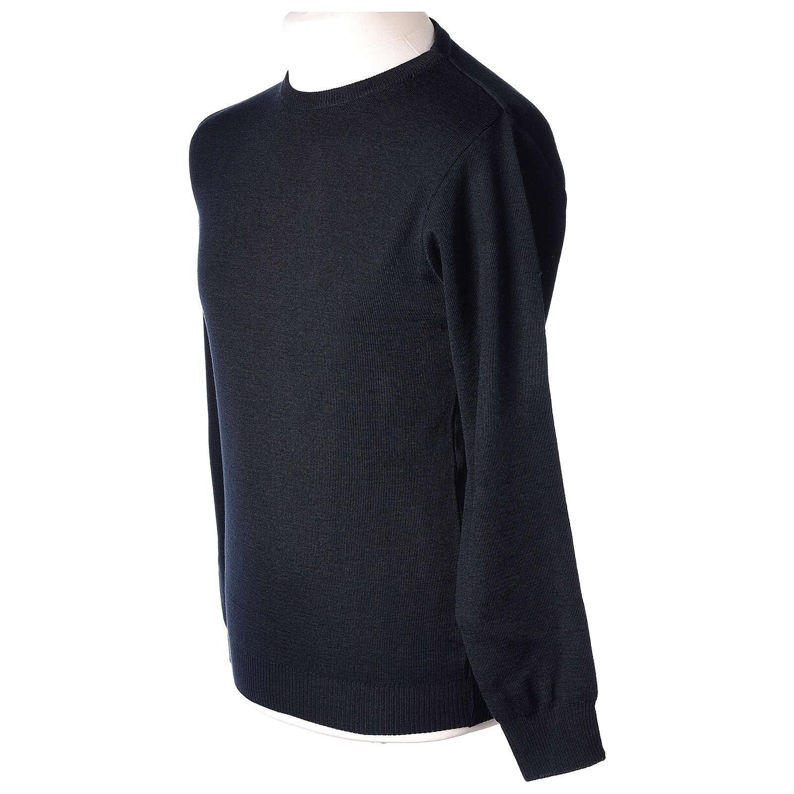 Pullover sacerdote girocollo blu TAGLIE CONF. 50% merino 50% acr. In Primis 4